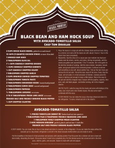 Tom Douglas Black Bean Soup presented with Dungeness Crab and Avocado-Tomatilla Salsa